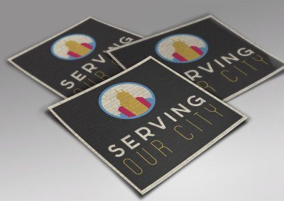 sticker mockup for a missional effort event