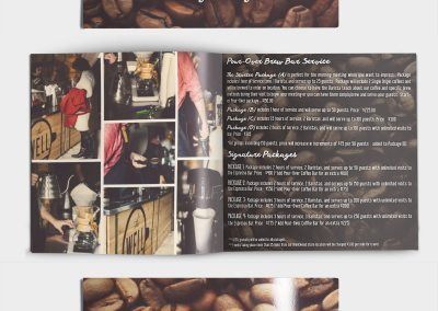 Menu for a faith based missional Coffee shop